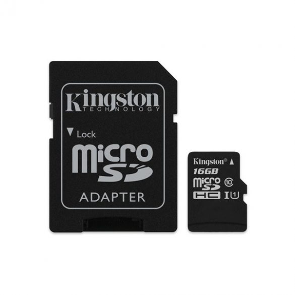 16 GB Kingston MicroSDHC kártya class 10 + SD adapter