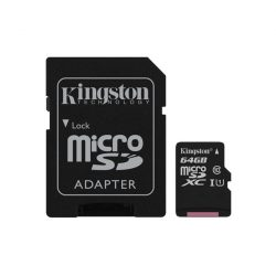 64 GB Kingston MicroSDHC kártya class 10 + SD adapter