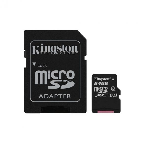 64 GB Kingston MicroSDHC kártya class 10 + SD adapter